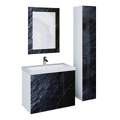 Коллекция Lacio 80 см. Подвесная тумба, зеркало, пенал. Стеклянный фасад. (Чёрный мрамор)