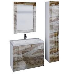 Коллекция Lacio 80 см. Подвесная тумба, зеркало, пенал. Стеклянный фасад. (Оникс)