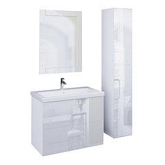 Коллекция Lacio 80 см. Подвесная тумба, зеркало, пенал. Стеклянный фасад. (Белый)