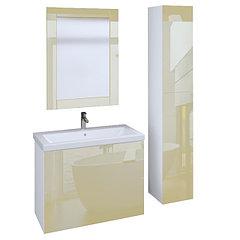 Коллекция Lacio 80 см. Подвесная тумба, зеркало, пенал. Стеклянный фасад. (Бежевый)