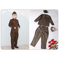 """Карнавальный костюм """"Солдат"""", гимнастерка, брюки, ремень, пилотка, рост 116 см   СлдМ-0005"""