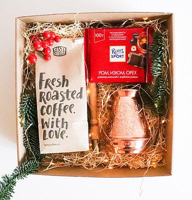 Кофейный подарочный набор | Турка, кофе и шоколад + оформление