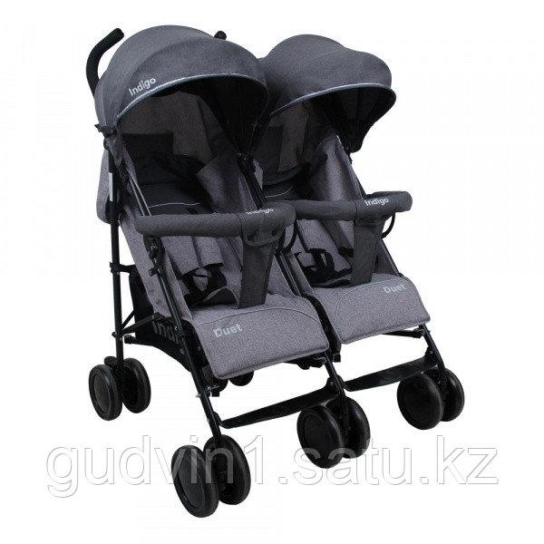 Коляска-трость для двоих детей Indigo DUET, серый 01-09782