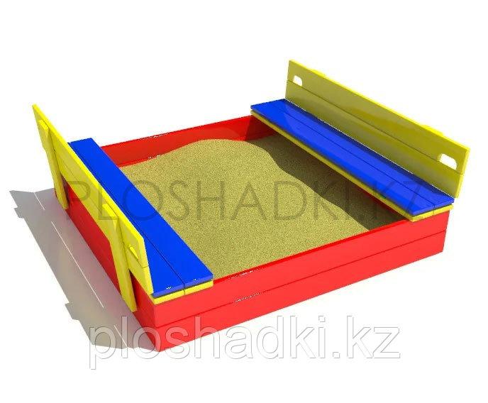 Песочница Mih3 (цветная), деревянная с лавочками со спинкой