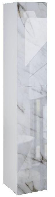 Пенал подвесной LACIO (Белый мрамор). Стеклянный фасад. Левый/Правый.