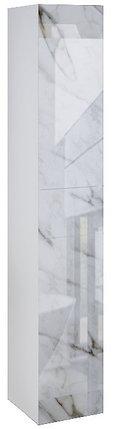 Пенал подвесной LACIO (Белый мрамор). Стеклянный фасад. Левый/Правый., фото 2