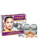 Набор по уходу за кожей с частичками серебра (Anti-Pollution Silver Facial Kit VAADI Herbals), 70 гр