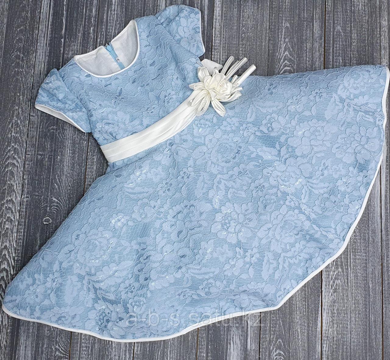 Платье голубое с бантиком