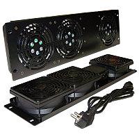 Вентиляторный модуль TWT, 220V, 19, 3U, 483 мм Ш, вентиляторов: 2, для шкафов, цвет: чёрный