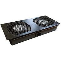 Вентиляторный модуль TWT, с подшипником качения, 220V, вентиляторов: 2, для шкафов, цвет: чёрный, без шнура