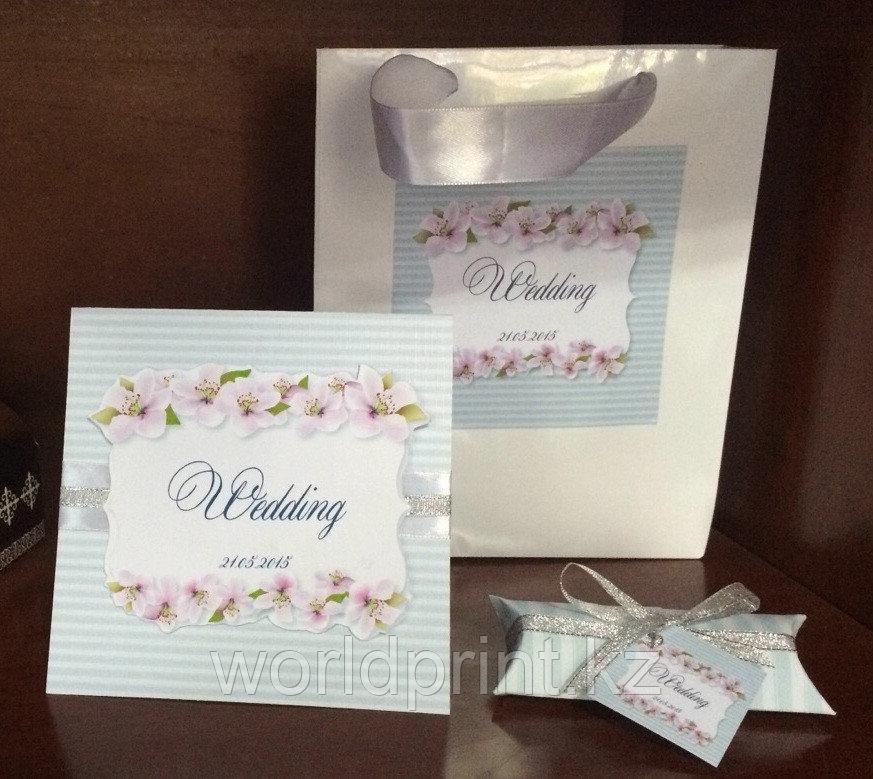 Свадебные пригласительные, пакет, бонбоньерки в одном стиле