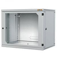 Шкаф телекоммуникационный настенный CONTEG, 19, 9U, 491х600х400 мм ВхШхГ, дверь: стекло, боковая панель: