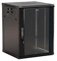 Шкаф телекоммуникационный настенный Hyperline TWB-FC, 19, 22U, 1086х600х600 мм ВхШхГ, дверь: стекло, разборный, цвет: чёрный
