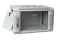Шкаф телекоммуникационный настенный Cabeus, 19, 9U, 501х600х600 мм ВхШхГ, дверь: стекло, сварной, цвет: серый, съемная панель для крепления шкафа к