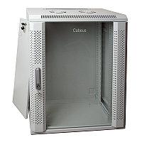 Шкаф телекоммуникационный настенный Cabeus, 19, 18U, 901х600х600 мм ВхШхГ, дверь: стекло, сварной, цвет: серый, съемная панель для крепления шкафа к