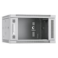Шкаф телекоммуникационный настенный Cabeus, 19, 6U, 368х600х450 мм ВхШхГ, дверь: стекло, сварной, цвет: серый, съемная панель для крепления шкафа к