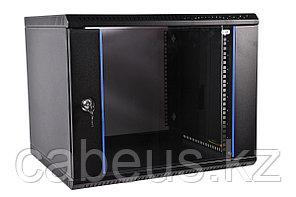 Шкаф телекоммуникационный настенный ЦМО ШРН-Э, 19, 12U, 608х600х520 мм ВхШхГ, дверь: стекло, боковая панель: