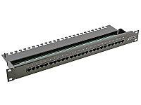 Коммутационная патч-панель телефонная AMP, 19, 1HU, 25х RJ45, цвет: чёрный