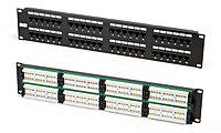 Коммутационная патч-панель телефонная Hyperline, 19, 2HU, 48х RJ12, цвет: чёрный