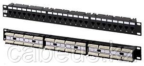 Коммутационная патч-панель телефонная Hyperline, 19, 1HU, 24х RJ12, цвет: чёрный
