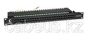 Коммутационная патч-панель телефонная Cabeus, 19, 1HU, 50хRJ45, цвет: чёрный