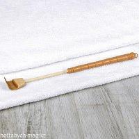 Чесалка деревянная, с раздвижной ручкой, с подвесом, 19 - 31,7 см, цвет бежевый