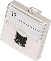 Вставка Lanmaster, 1х RJ45, 45х45 мм ВхШ, плоская, шторки, цвет: белый, UTP, категории 6, с увеличенным окном маркировки LAN-SIP-23U6-WH