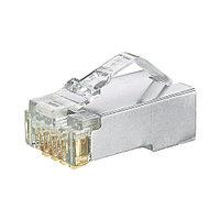 Коннектор Panduit PAN-PLUG, RJ458p8c, кат. 5е, экр., для многожильного кабеля, 100 шт, цвет: прозрачный