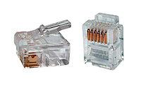 Разъём ITK, RJ126p4c, кат. 3, неэкр., обжимной, для кабеля, 20 шт, цвет: прозрачный