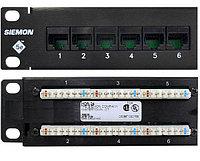 Коммутационная патч-панель Siemon, 19, 1HU, портов: 24хRJ45, кат. 6, универсальная, неэкр., встраиваемый, цвет: чёрный, HD6-24B
