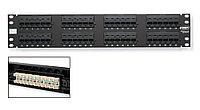 Коммутационная патч-панель AMP, 19, 2HU, портов: 48хRJ45, кат. 5е, PCB, неэкр., встраиваемый, цвет: чёрный, 0-0406331-1