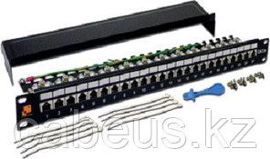 Коммутационная патч-панель Lanmaster, 19, 1HU, портов: 24 х RJ45, кат. 6A, экр., цвет: чёрный, LAN-PPL24S6A