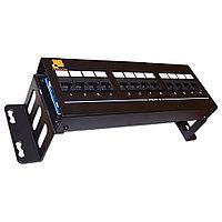 Коммутационная патч-панель Lanmaster, 19, 2HU, портов: 12хRJ45, кат. 5е, неэкр., цвет: чёрный, LAN-PPF12U5E/W