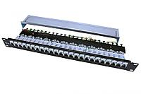 Коммутационная патч-панель Hyperline PP3, 19, 1HU, портов: 24хRJ45, кат. 6, универсальная, экр., цвет: чёрный, PP3-19-24-8P8C-C6-SH-110D