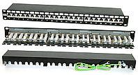 Коммутационная патч-панель Hyperline, 19, 1HU, портов: 24хRJ45, кат. 6A, универсальная, экр., цвет: чёрный, PP2-19-24-8P8C-C6A-SH-110D