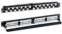 Коммутационная патч-панель Hyperline, 19, 1HU, портов: 24хRJ45, кат. 6, универсальная, неэкр., модули углового типа, цвет: чёрный,