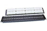 Коммутационная патч-панель Hyperline PP3, 19, 2HU, портов: 48хRJ45, кат. 5е, универсальная, неэкр., цвет: чёрный, PP3-19-48-8P8C-C5E-110D