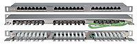 Коммутационная патч-панель Hyperline, 19, 0,5HU, портов: 24хRJ45, кат. 5е, универсальная, экр., цвет: серый, PPHD-19-24-8P8C-C5E-SH-110D