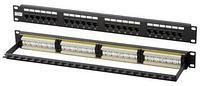 Коммутационная патч-панель Hyperline, 19, 1HU, портов: 24хRJ45, кат. 6, универсальная, неэкр., цвет: чёрный, PP3-19-24-8P8C-C6-110D