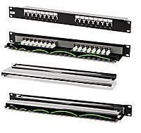 Коммутационная патч-панель Hyperline, 19, 1HU, портов: 16хRJ45, кат. 5е, универсальная, экр., цвет: чёрный, PP-19-16-8P8C-C5e-SH-110D