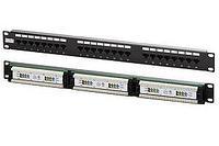 Коммутационная патч-панель Hyperline, 19, 0,5HU, портов: 24хRJ45, кат. 5е, универсальная, неэкр., цвет: чёрный, PPHD-19-24-8P8C-C5E-110D