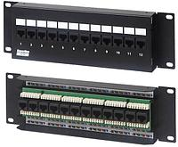 Коммутационная патч-панель Hyperline, настенная, портов: 12хRJ45, кат. 5е, неэкр., цвет: чёрный, PPW-12-8P8C-C5e-FR
