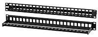 Коммутационная патч-панель Hyperline, 19, 1HU, портов: 24хkeystone, кат. 5-7A, с задним кабельным организатором без модулей, цвет: чёрный,