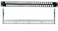 Коммутационная патч-панель наборная Eurolan, 19, 1HU, портов: 24 х keystone, кат. 5е-6a, универсальная, экр., порты в 1 ряд, цвет: чёрный, с задним