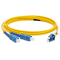 Коммутационный шнур оптический Lanmaster, Duplex SC/LC UPC/UPC, OS2 9/125, LSZH, Ø 3мм, 1,5м, цвет: жёлтый, LAN-2LC-2SC/SU-1.5