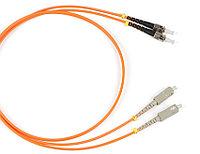Коммутационный шнур оптический Hyperline, Duplex ST/SC, OM1 62,5/125, LSZH, Ø 2мм, 3м, цвет: оранжевый, FC-D2-62-SC/PR-ST/PR-H-3M-LSZH-OR
