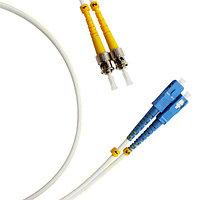Коммутационный шнур оптический Hyperline, Duplex ST/SC UPC, G657 9/125, LSZH, Ø 2мм, 1м, цвет: белый, FC-D2-9A1-SC/UR-ST/UR-H-1M-LSZH-WH