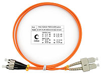 Коммутационный шнур оптический Cabeus Tight Buffer, Duplex FC/SC UPC/UPC, OM1 62,5/125, LSZH, Ø 3мм, 1м, цвет: оранжевый, FOP-62-SC-FC-1m