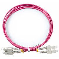 Коммутационный шнур оптический Cabeus Tight Buffer, Duplex SC/SC UPC/UPC, OM4 50/125, LSZH, Ø 3мм, 1м, цвет: розовый, FOP-50-OM4-SC-SC-1m