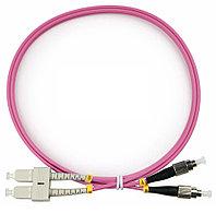 Коммутационный шнур оптический Cabeus Tight Buffer, Duplex FC/SC UPC/UPC, OM4 50/125, LSZH, Ø 3мм, 2м, цвет: розовый, FOP-50-OM4-SC-FC-2m